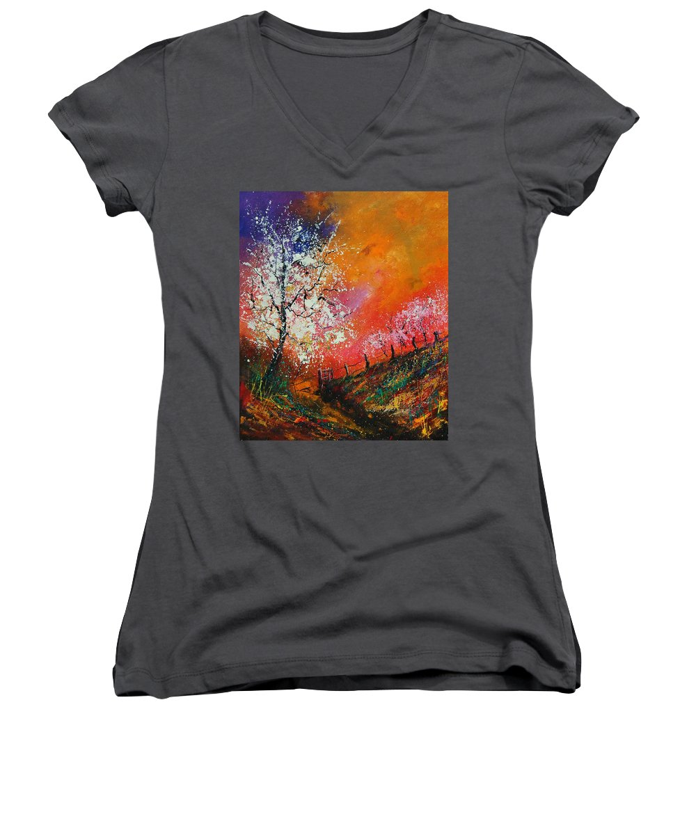 Spring Women's V-Neck T-Shirt featuring the painting Spring Today by Pol Ledent
