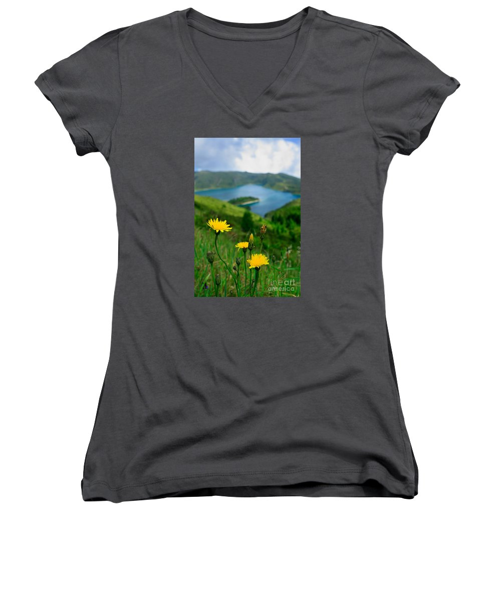 Caldera Women's V-Neck T-Shirt featuring the photograph Springtime In Fogo Crater by Gaspar Avila