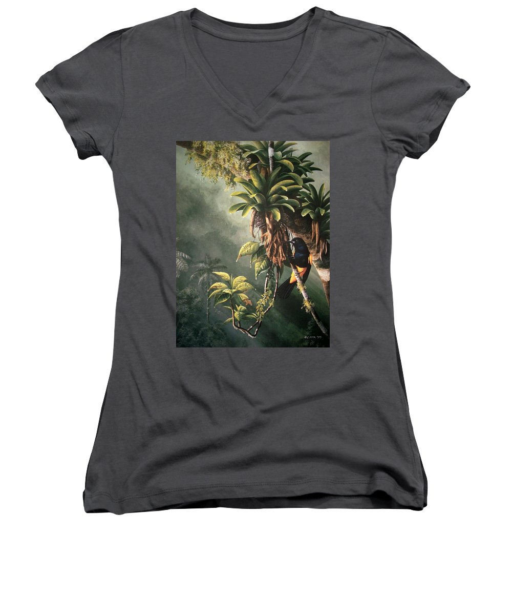 Chris Cox Women's V-Neck T-Shirt featuring the painting St. Lucia Oriole In Bromeliads by Christopher Cox