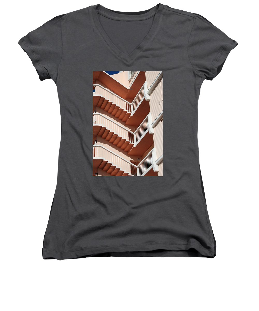 Architecture Women's V-Neck T-Shirt featuring the photograph Stairs And Rails by Rob Hans