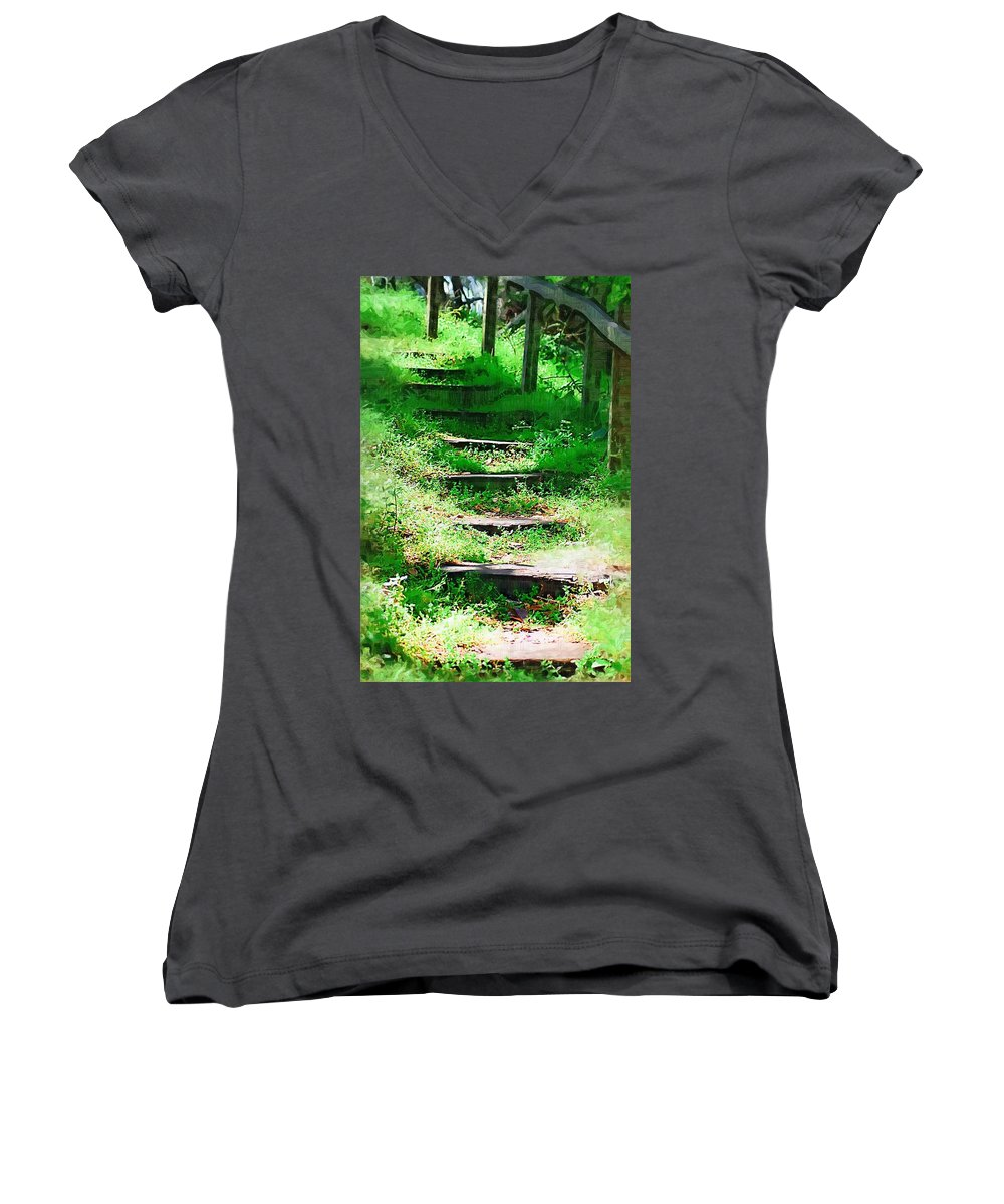 Stairs Women's V-Neck (Athletic Fit) featuring the photograph Stairway To Heaven by Donna Bentley