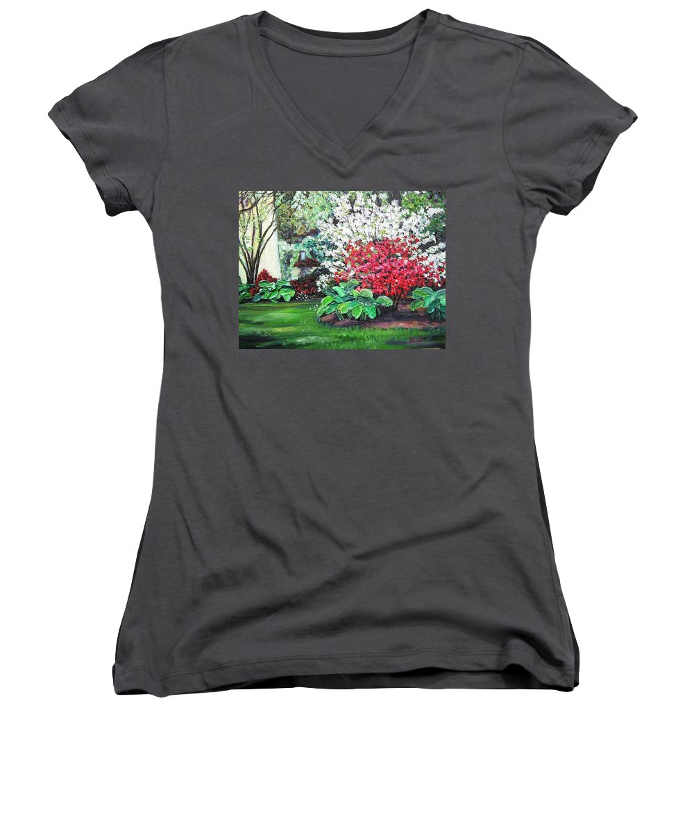 Blossoms Women's V-Neck T-Shirt featuring the painting Stanely Park Blossoms by Richard Nowak