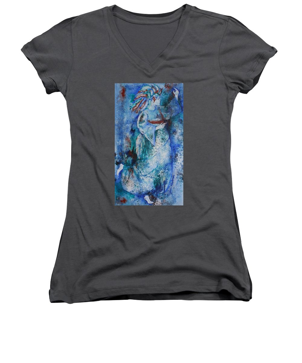 Abstract Women's V-Neck T-Shirt featuring the painting Star Dancer by Jean Blackmer