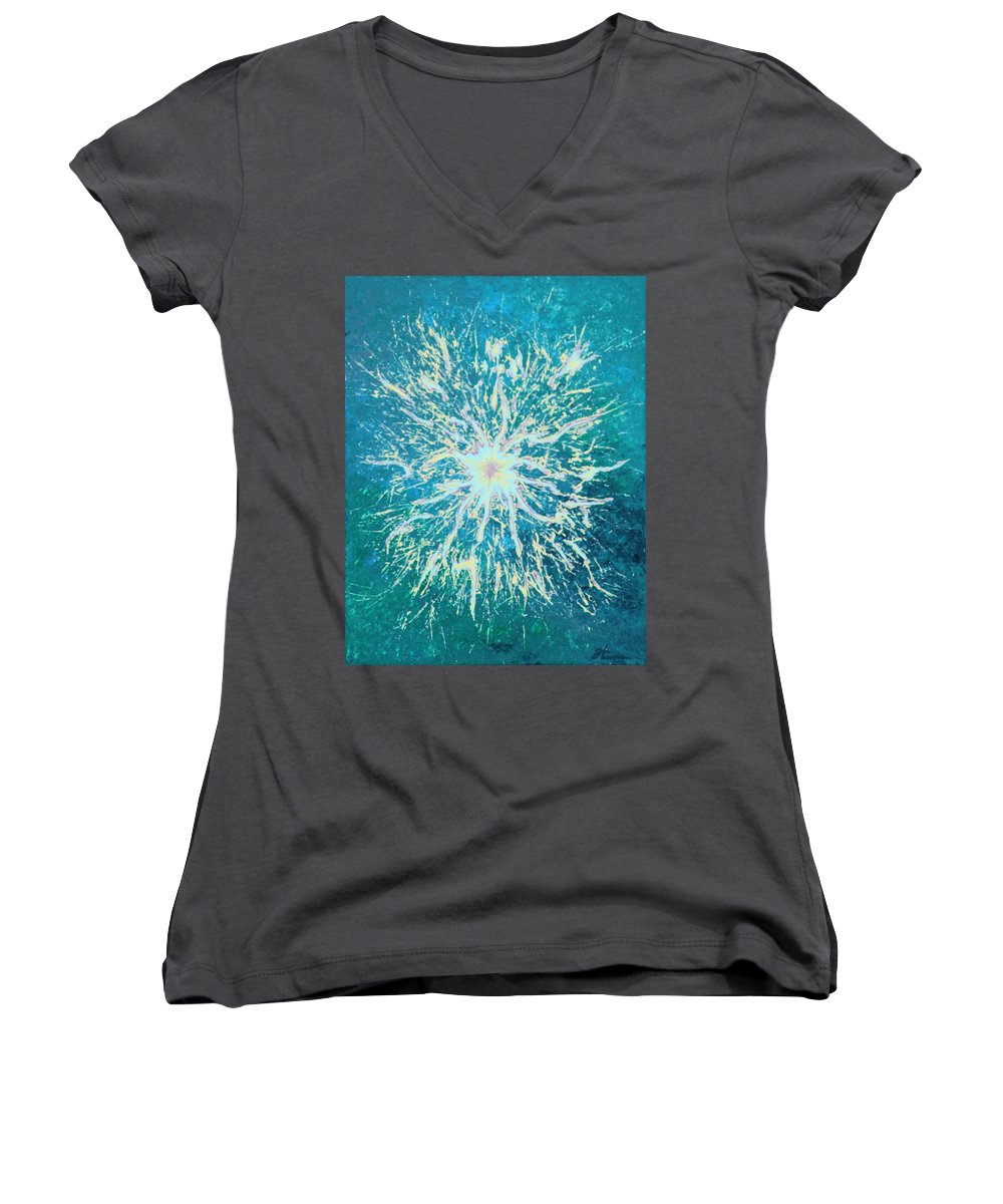 Acrylic Women's V-Neck T-Shirt featuring the painting Static by Todd Hoover