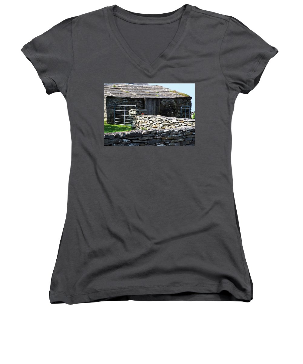 Irish Women's V-Neck T-Shirt featuring the photograph Stone Barn Doolin Ireland by Teresa Mucha