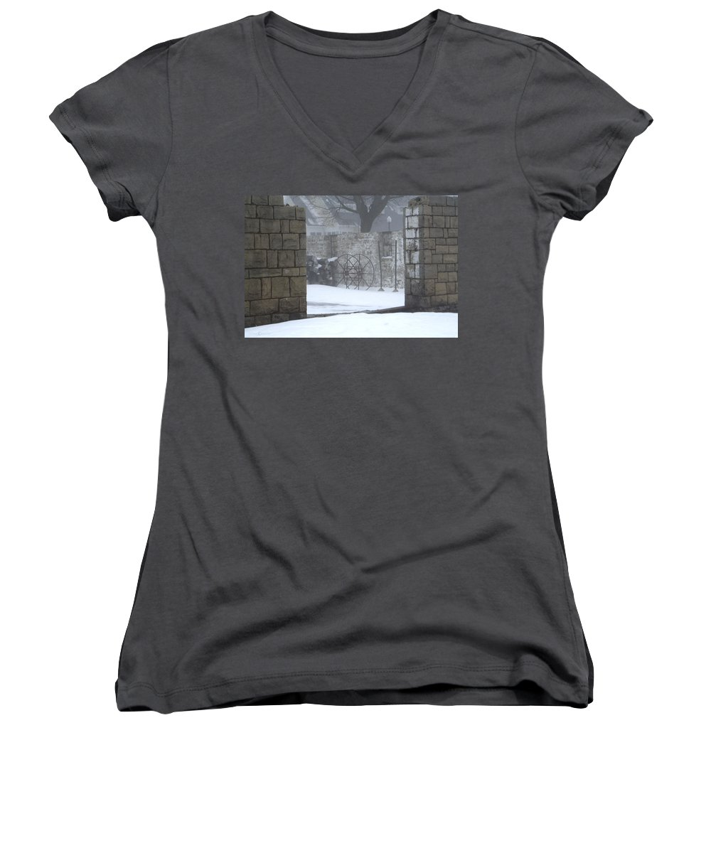 Winter Women's V-Neck (Athletic Fit) featuring the photograph Stone Cellar by Tim Nyberg
