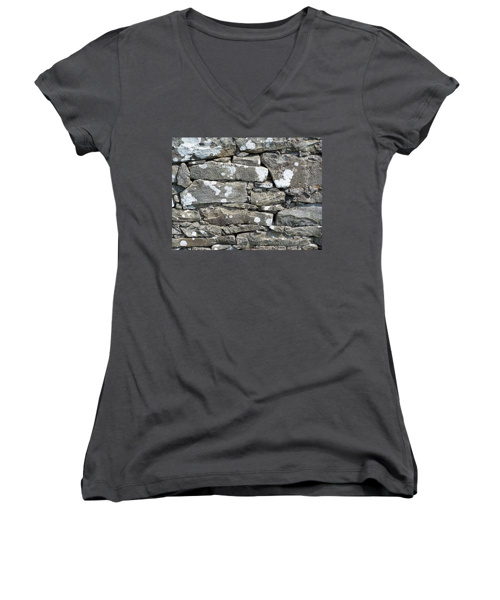 Irish Women's V-Neck T-Shirt featuring the photograph Stone Wall Detail Doolin Ireland by Teresa Mucha