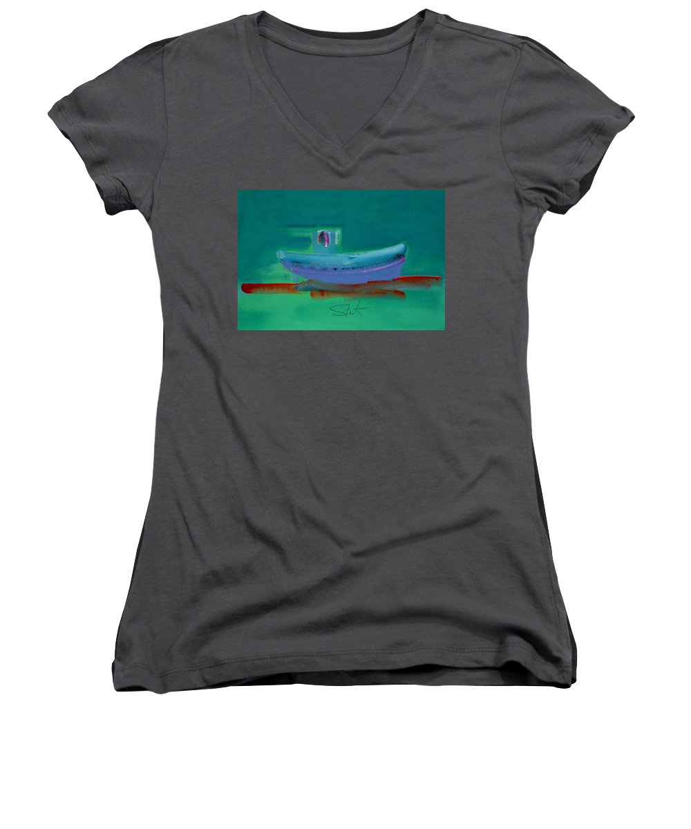 Deep Women's V-Neck (Athletic Fit) featuring the painting Stormbringer by Charles Stuart