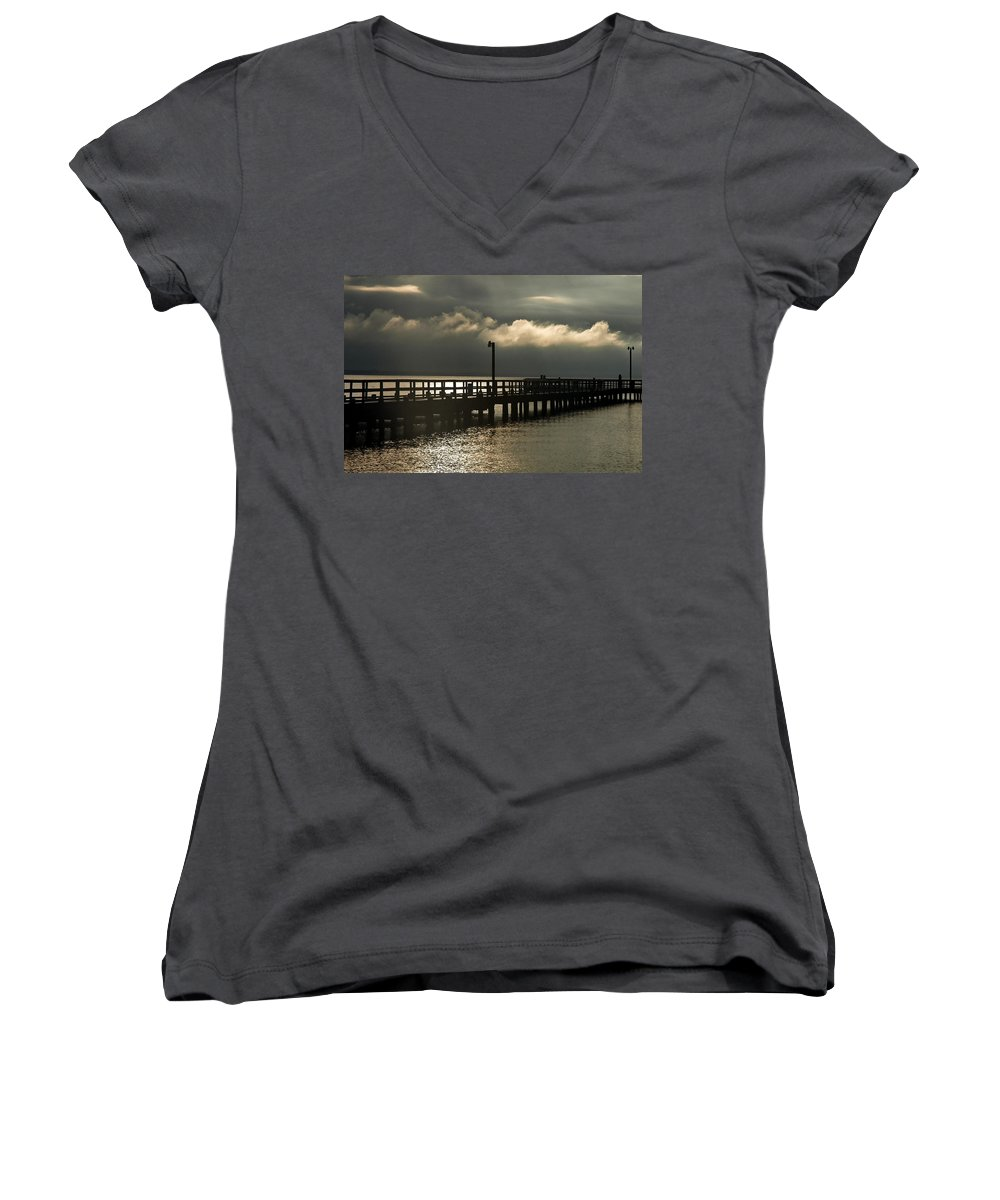 Clay Women's V-Neck (Athletic Fit) featuring the photograph Storms Brewin' by Clayton Bruster