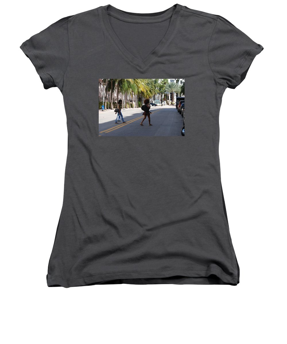Girls Women's V-Neck T-Shirt featuring the photograph Street Walkers by Rob Hans