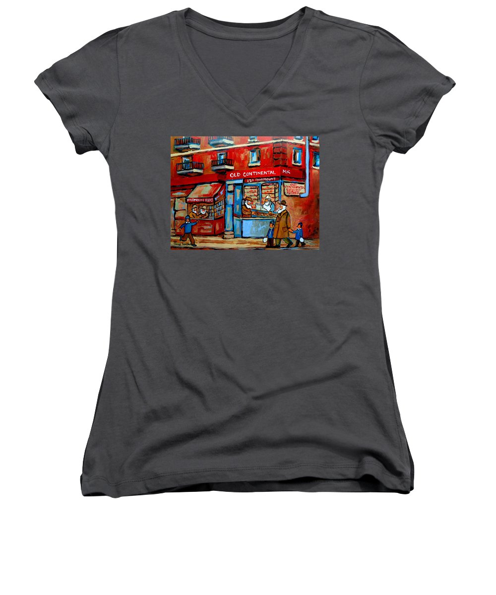 Old Continental On Fairmount Women's V-Neck T-Shirt featuring the painting Strictly Kosher by Carole Spandau