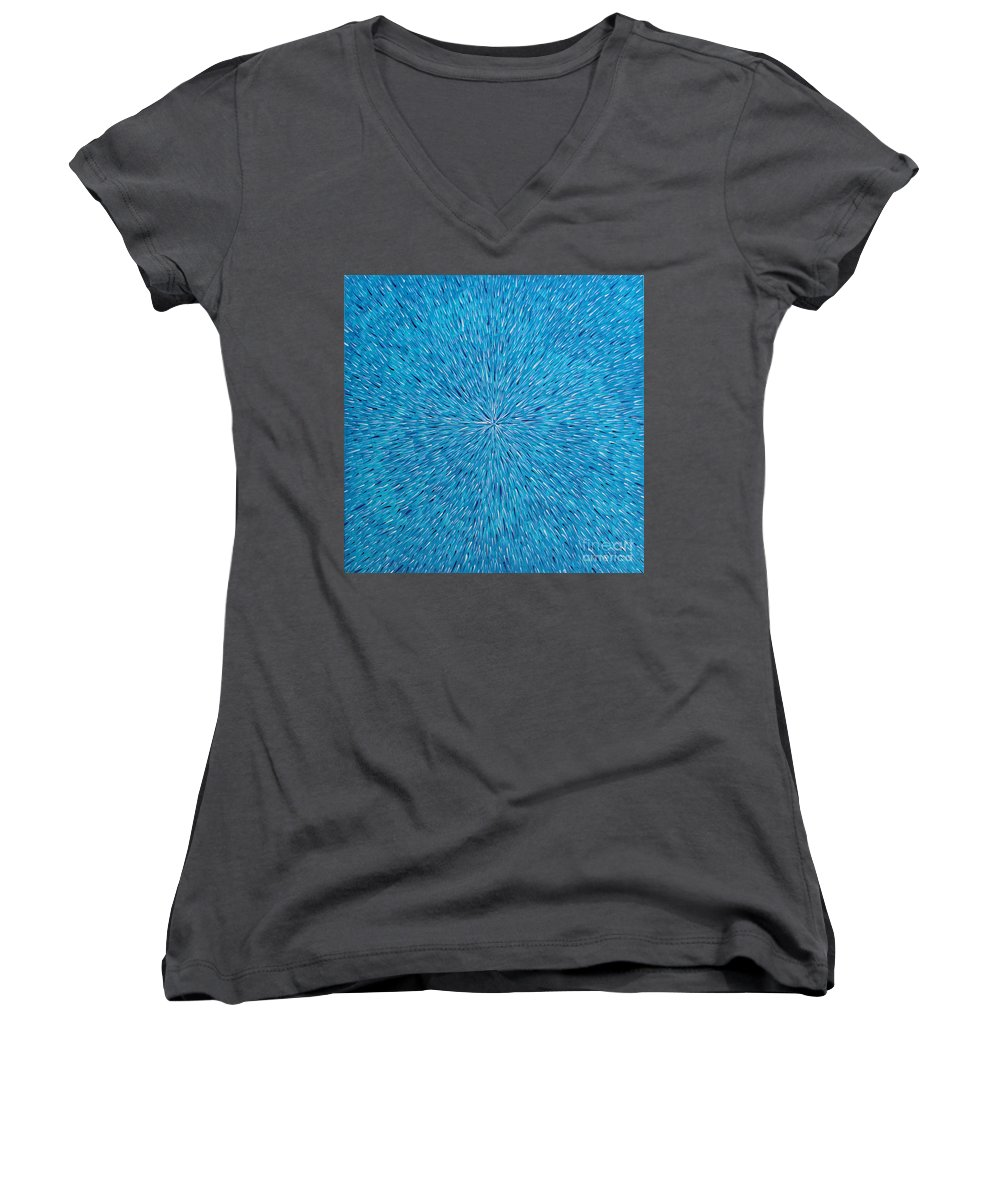 Abstract Women's V-Neck T-Shirt featuring the painting Su Gaia Rain by Dean Triolo