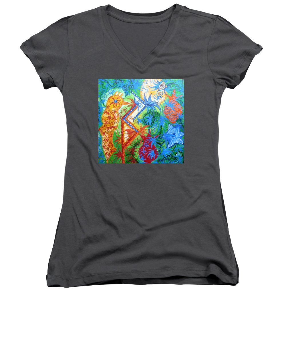 Runes Women's V-Neck T-Shirt featuring the painting Success From Project by Joanna Pilatowicz