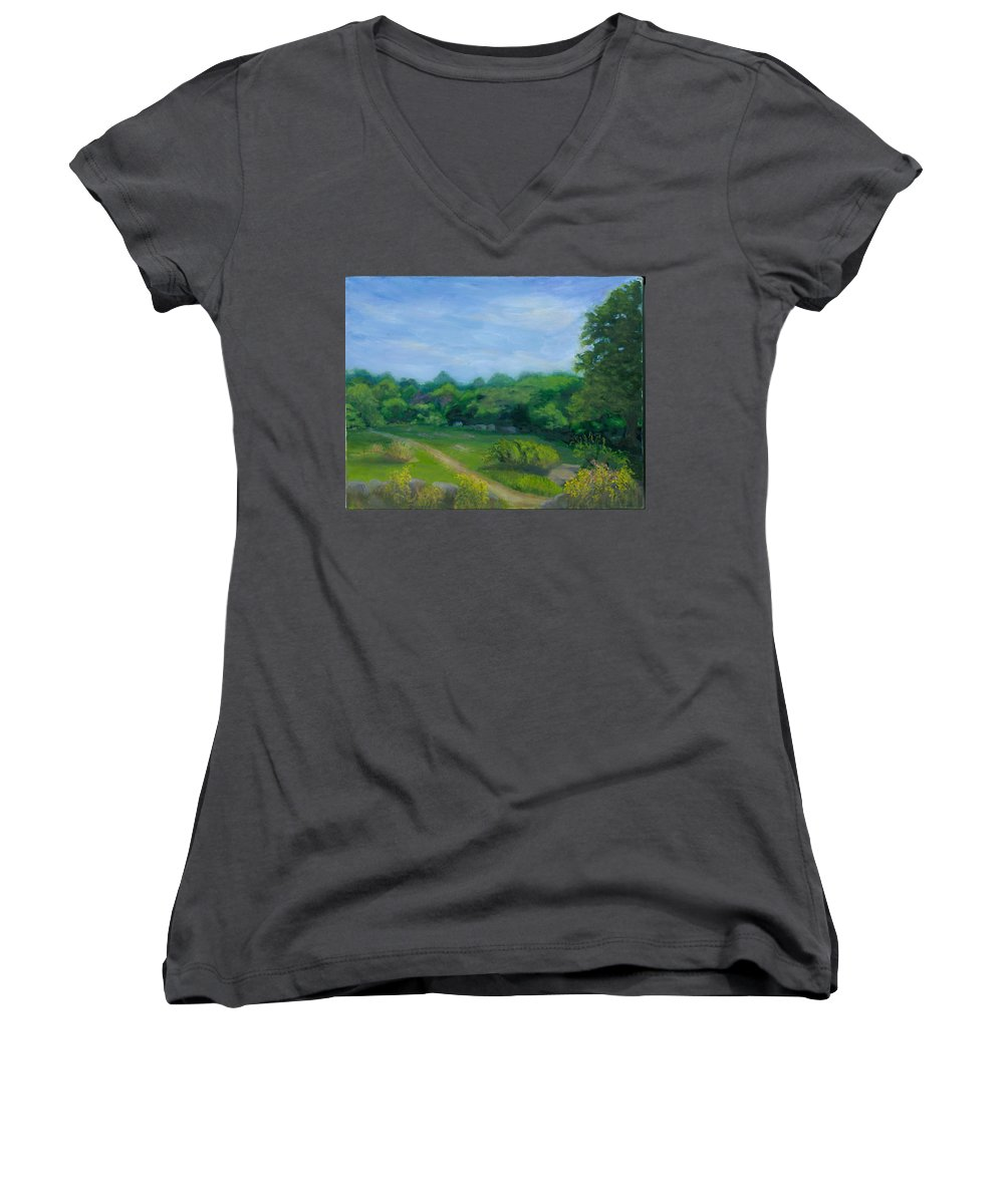 Landscape Women's V-Neck T-Shirt featuring the painting Summer Afternoon At Ashlawn Farm by Paula Emery