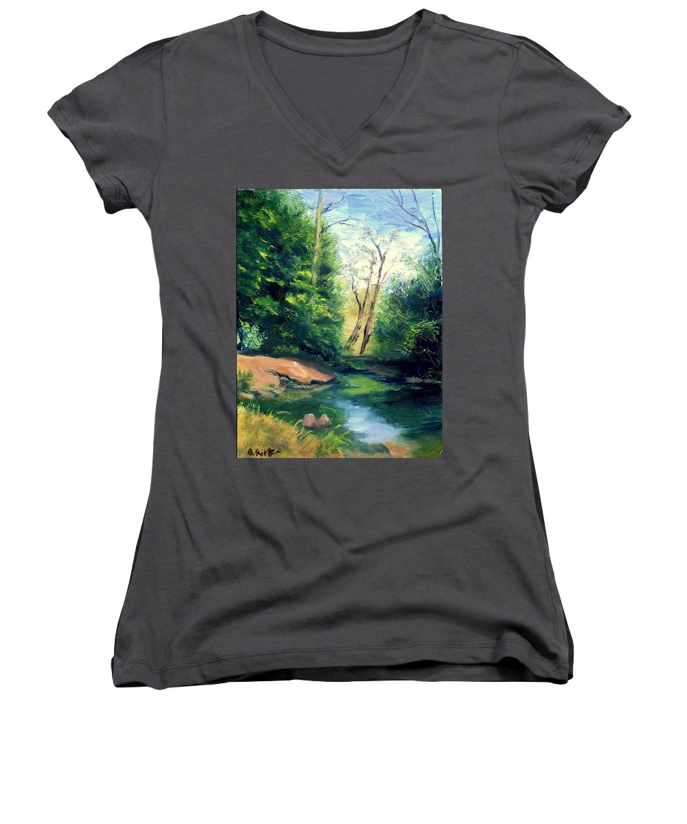 Landscape Women's V-Neck T-Shirt featuring the painting Summer At Storm by Gail Kirtz