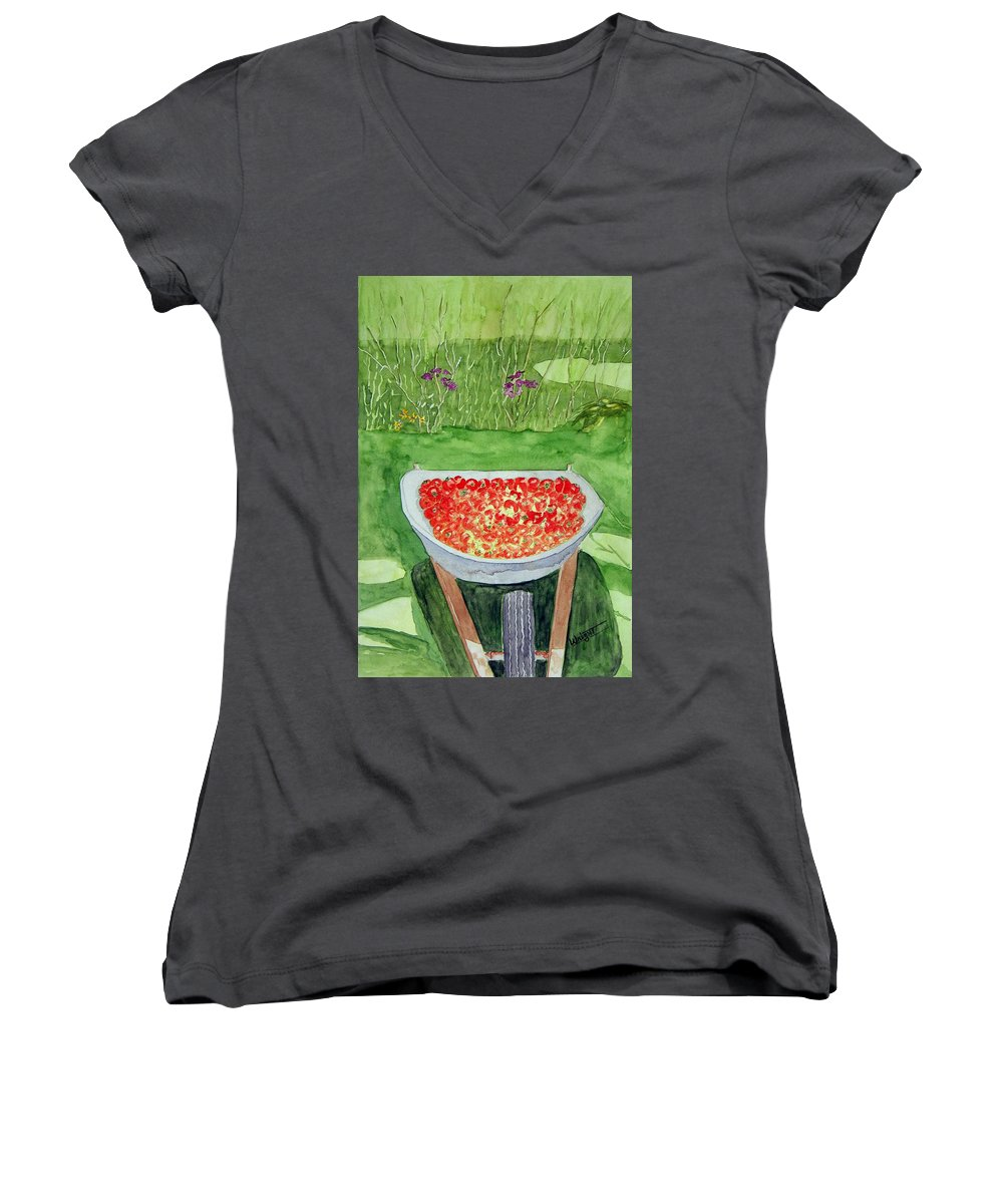 Rural Paintings Women's V-Neck T-Shirt featuring the painting Summer Bounty by Larry Wright