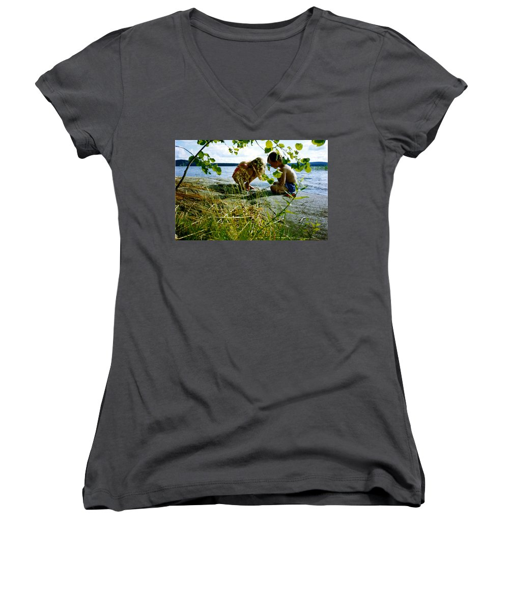 Kids Women's V-Neck T-Shirt featuring the photograph Summer Fun In Finland by Merja Waters