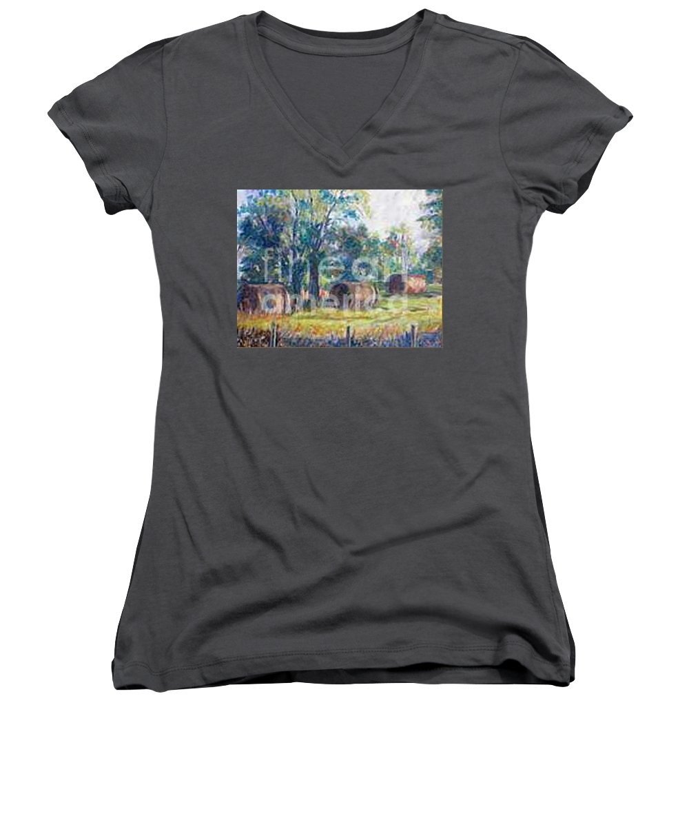 Landscape Women's V-Neck (Athletic Fit) featuring the painting Summer Idyll by Jan Bennicoff