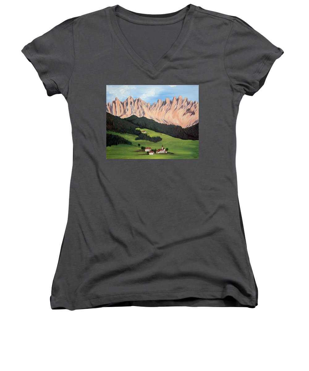Landscape Women's V-Neck T-Shirt featuring the painting Summer In Switzerland by Marco Morales