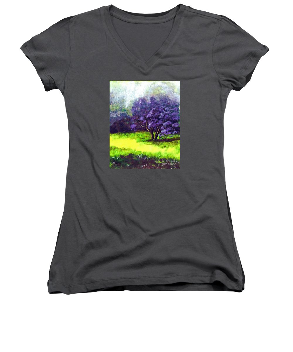 Fine Art Print Women's V-Neck T-Shirt featuring the painting Summer Mist by Patricia Griffin Brett