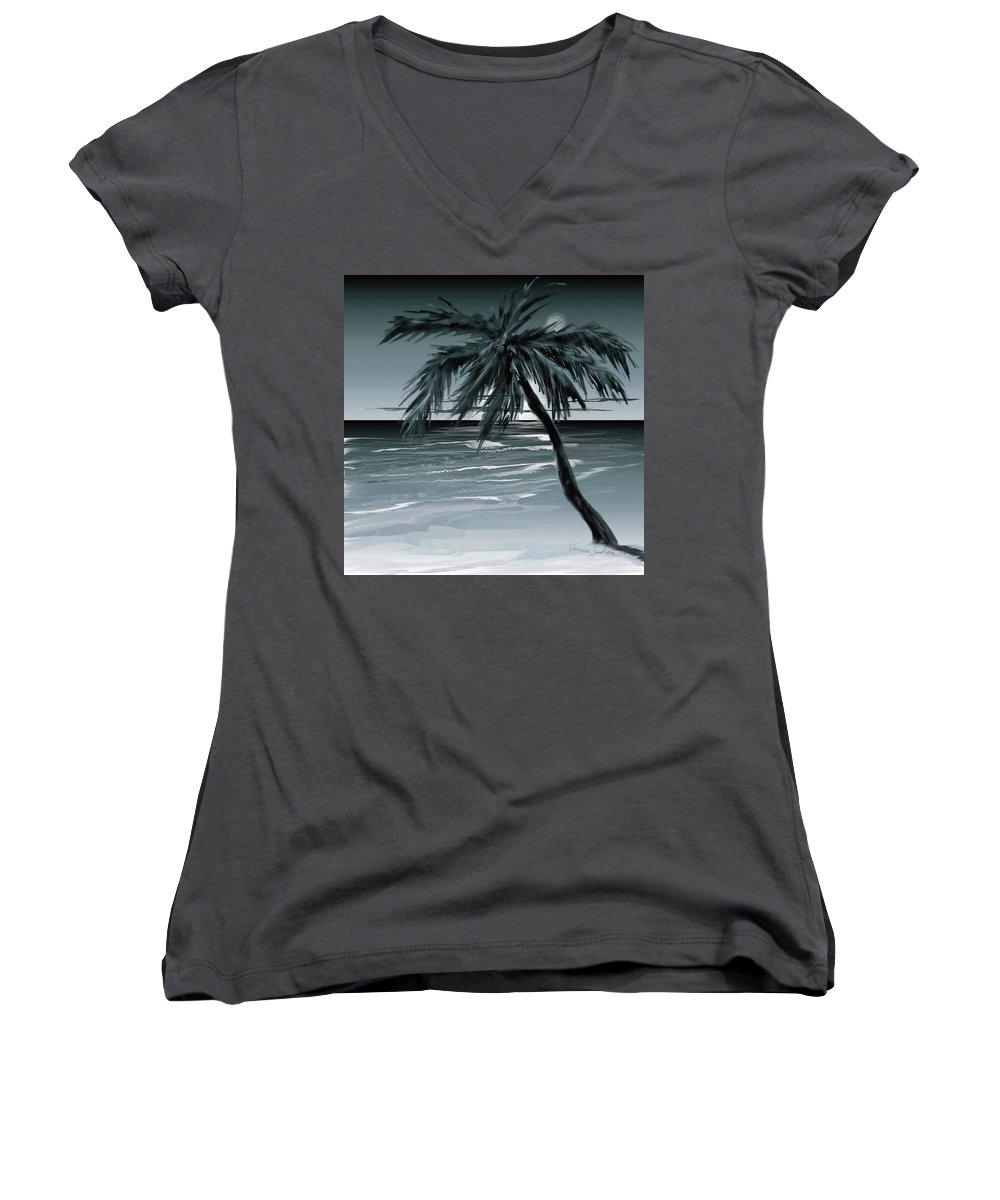 Water Beach Sea Ocean Palm Tree Summer Breeze Moonlight Sky Night Women's V-Neck (Athletic Fit) featuring the digital art Summer Night In Florida by Veronica Jackson