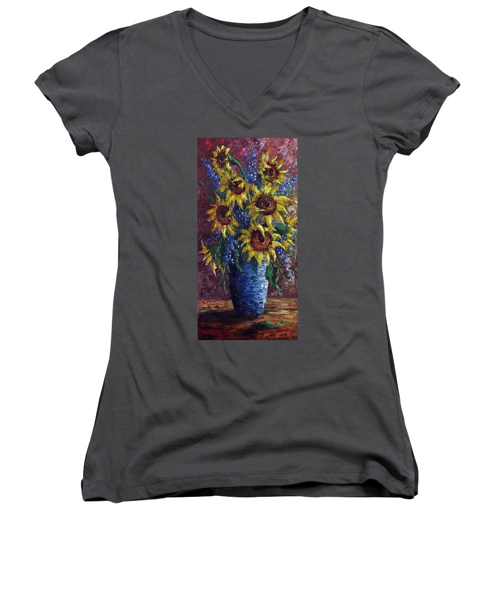 Flowers Women's V-Neck T-Shirt featuring the painting Sunflower Bouquet by David G Paul