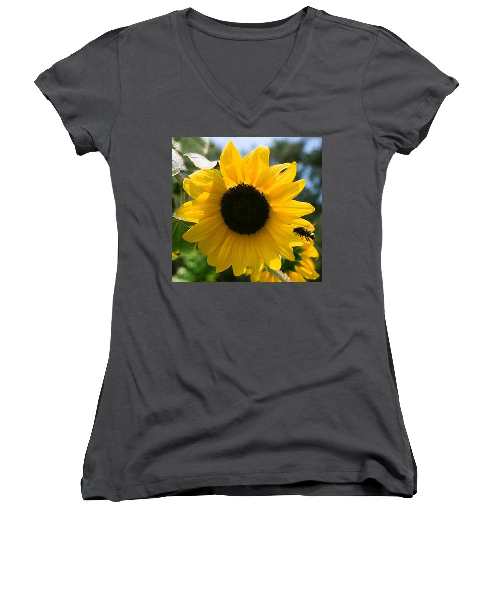 Flower Women's V-Neck T-Shirt featuring the photograph Sunflower With Bee by Dean Triolo