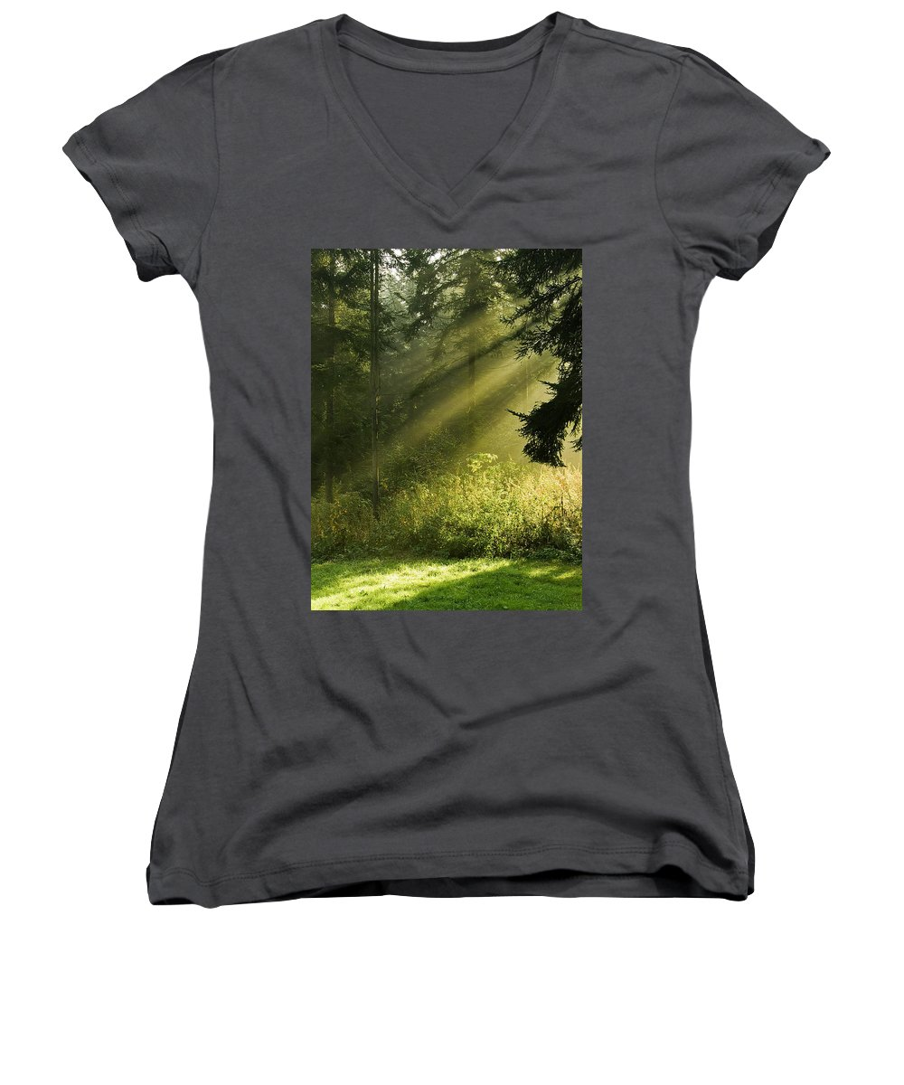 Nature Women's V-Neck (Athletic Fit) featuring the photograph Sunlight by Daniel Csoka
