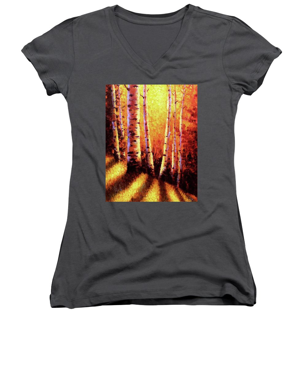 Sunlight Women's V-Neck T-Shirt featuring the painting Sunlight Through The Aspens by David G Paul