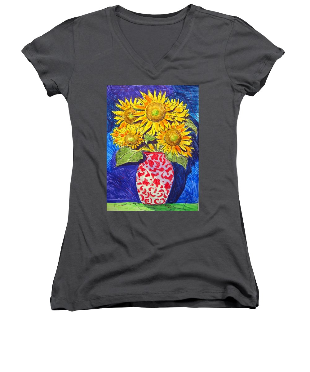 Sunflower Women's V-Neck T-Shirt featuring the painting Sunny Disposition by Jean Blackmer
