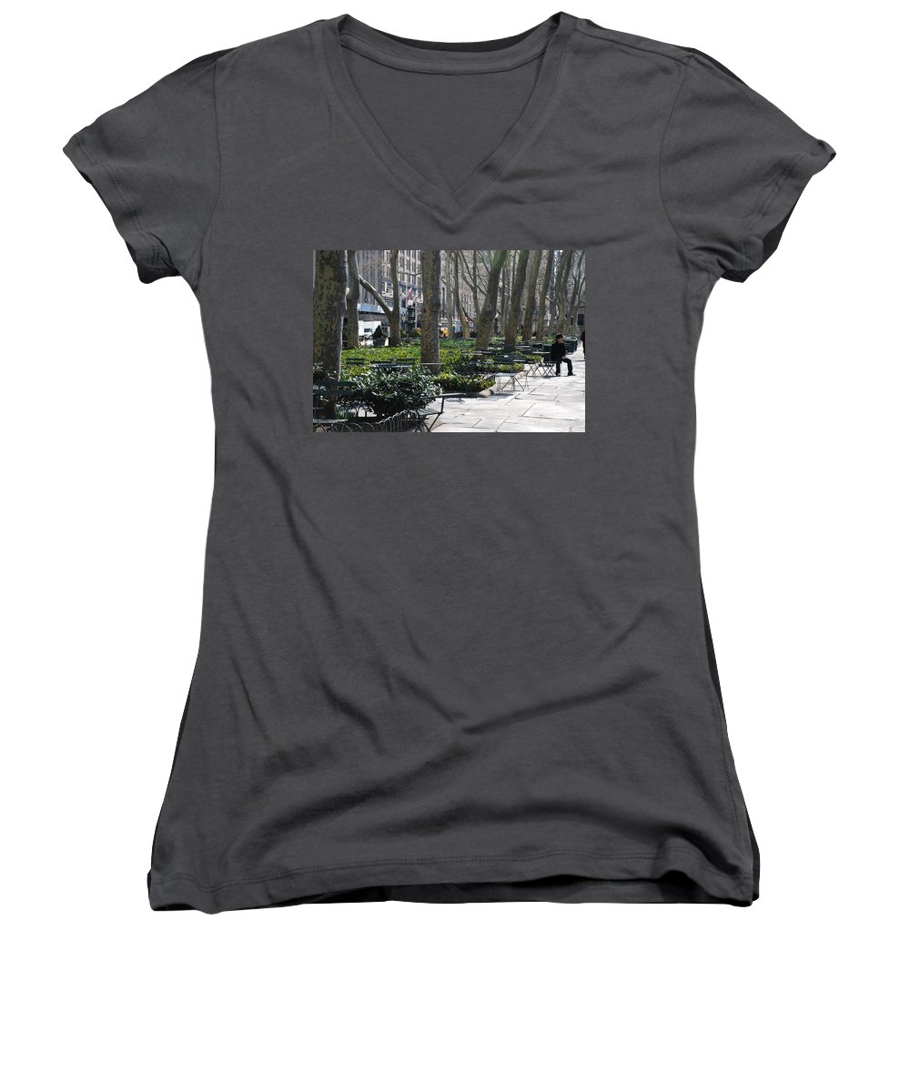Parks Women's V-Neck T-Shirt featuring the photograph Sunny Morning In The Park by Rob Hans