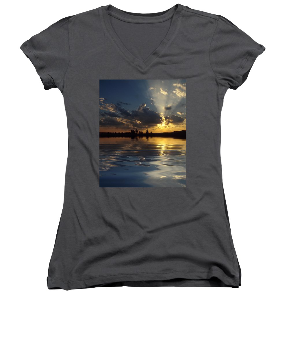 Sunset Women's V-Neck (Athletic Fit) featuring the photograph Sunray Sunset by Jerry McElroy