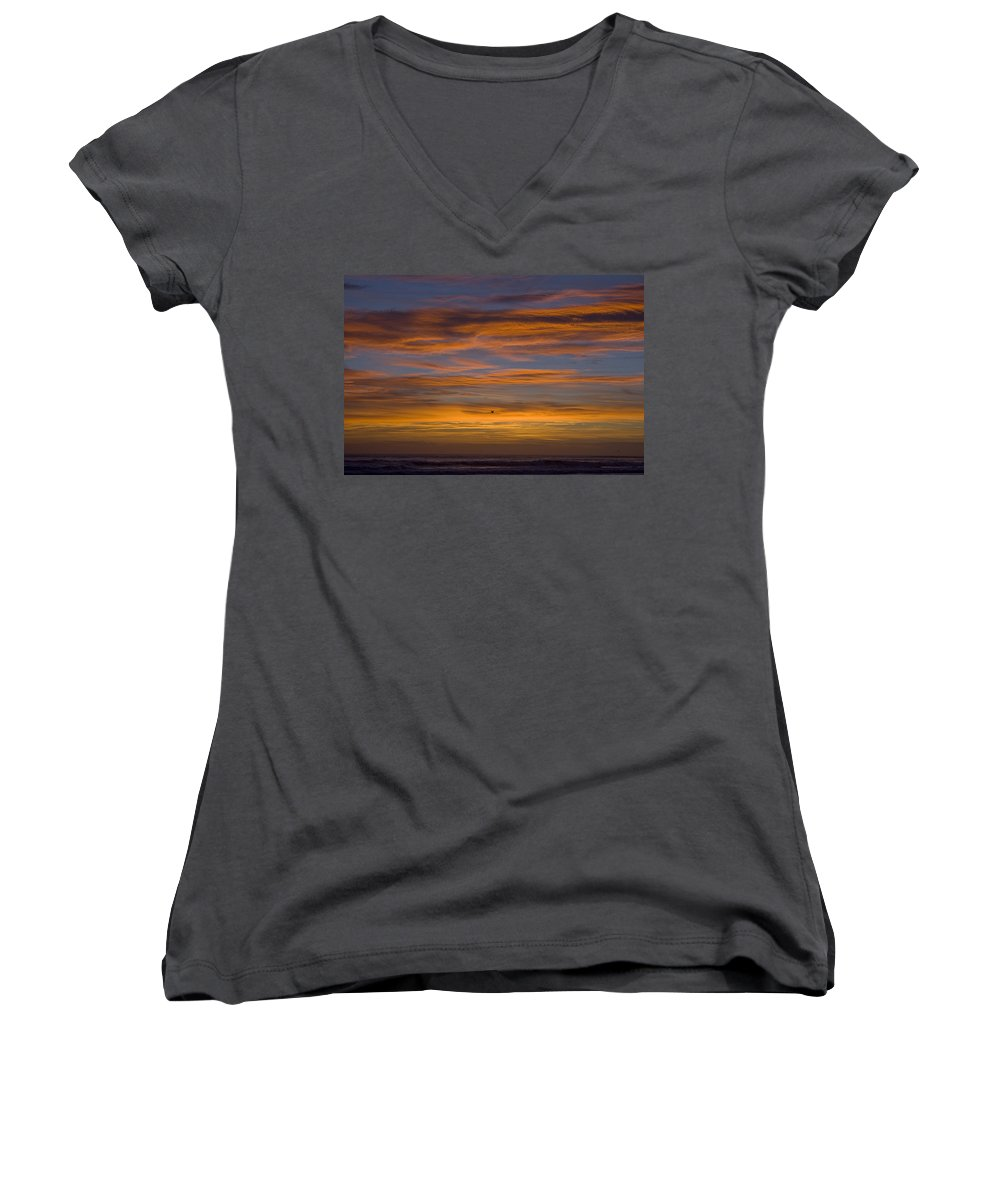 Sun Sunrise Cloud Clouds Morning Early Bright Orange Bird Flight Fly Flying Blue Ocean Water Waves Women's V-Neck T-Shirt featuring the photograph Sunrise by Andrei Shliakhau