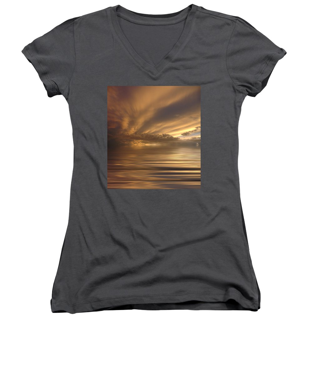 Sunset Women's V-Neck (Athletic Fit) featuring the photograph Sunset At Sea by Jerry McElroy