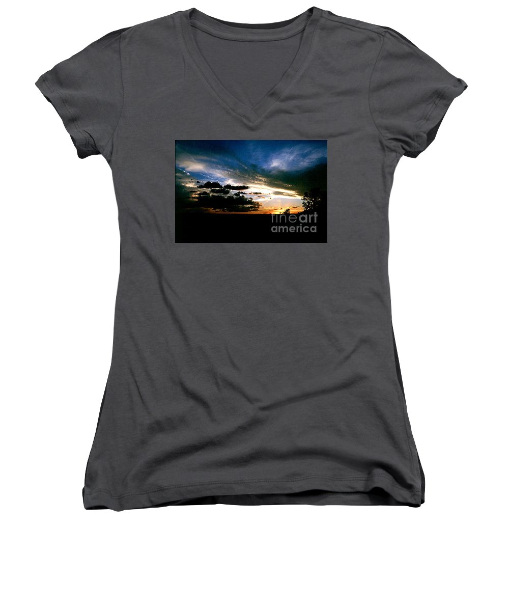 Sunset Women's V-Neck T-Shirt featuring the photograph Sunset At The North Rim by Kathy McClure