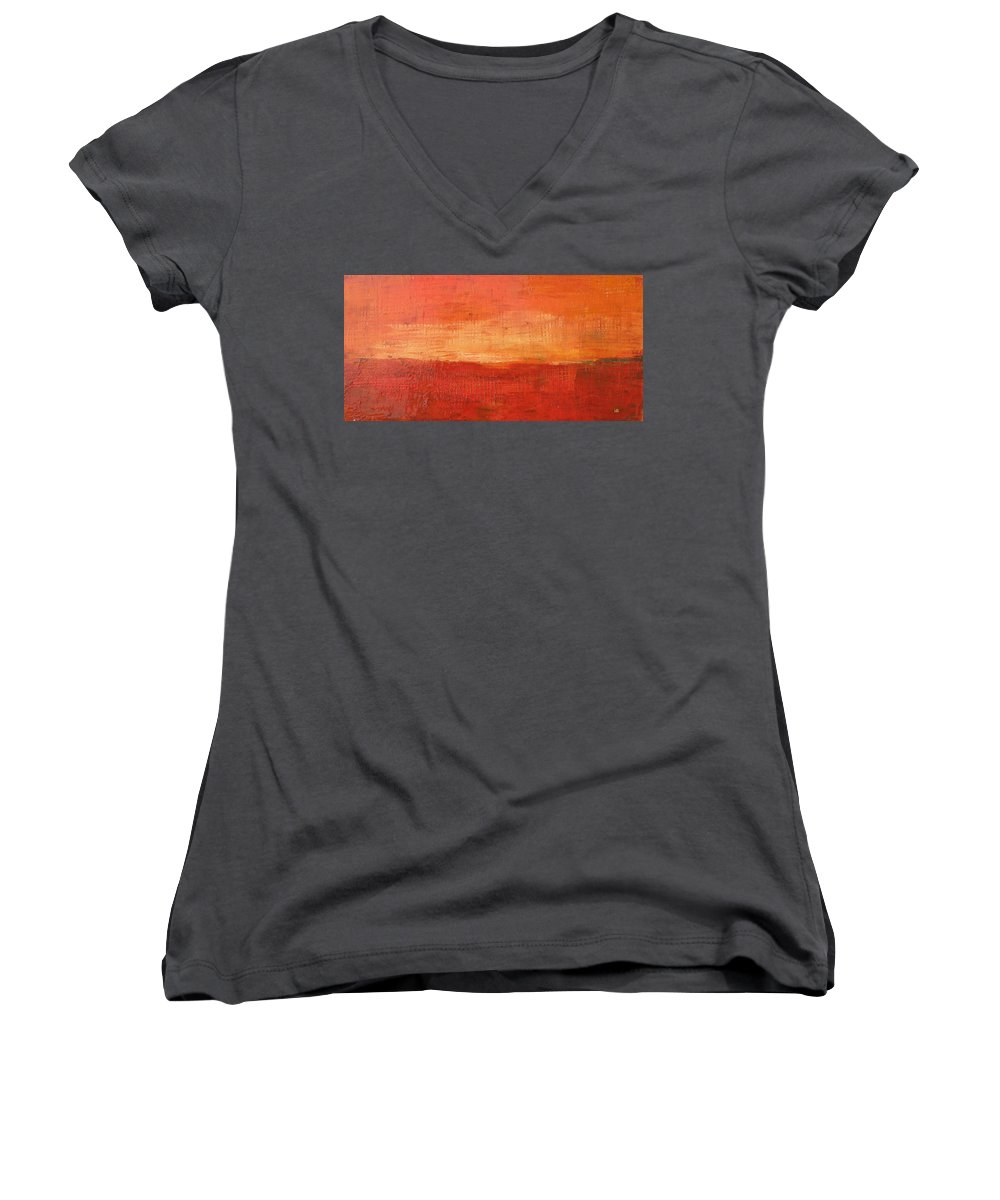 Abstract Women's V-Neck T-Shirt featuring the painting Sunset by Habib Ayat