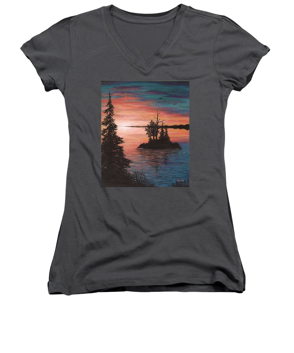 Sunset Women's V-Neck T-Shirt featuring the painting Sunset Island by Roz Eve