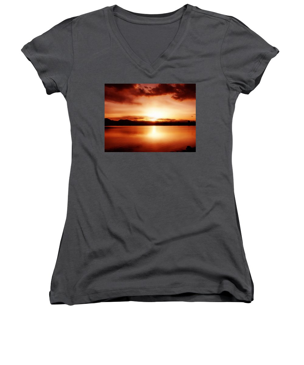 Lake Women's V-Neck T-Shirt featuring the photograph Sunset by Marilyn Hunt