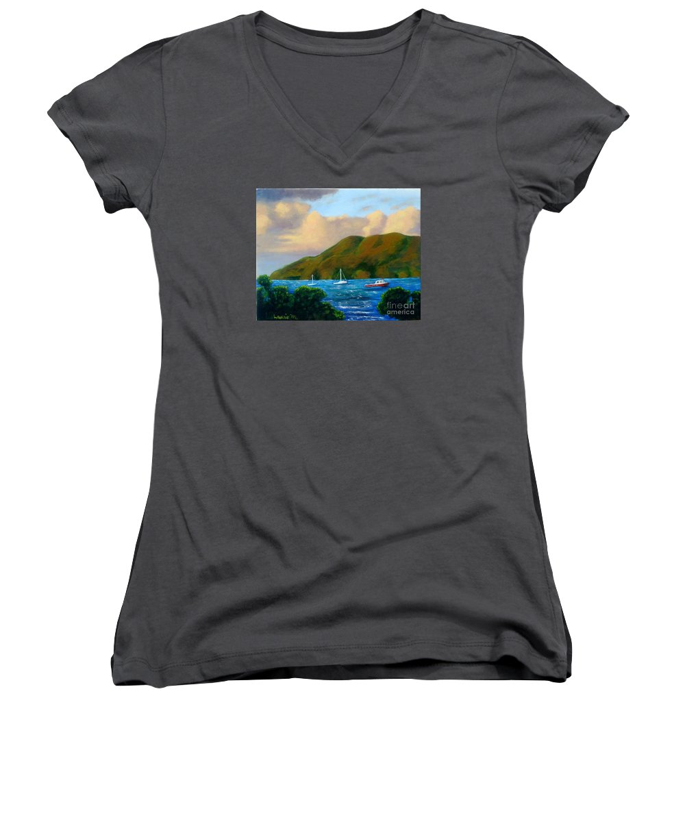 Sunset Women's V-Neck (Athletic Fit) featuring the painting Sunset On Cruz Bay by Laurie Morgan