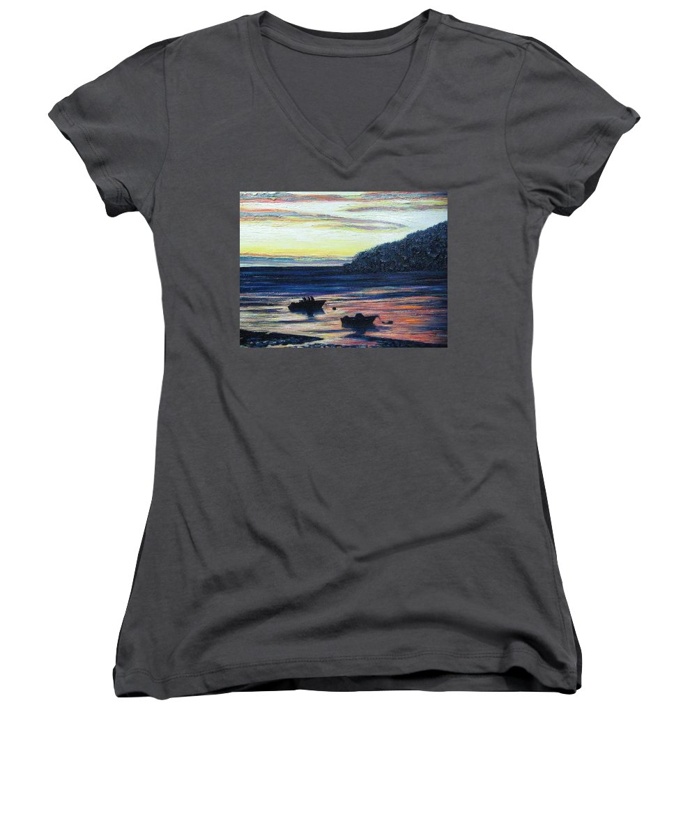 Maine Women's V-Neck (Athletic Fit) featuring the painting Sunset On Maine Coast by Richard Nowak