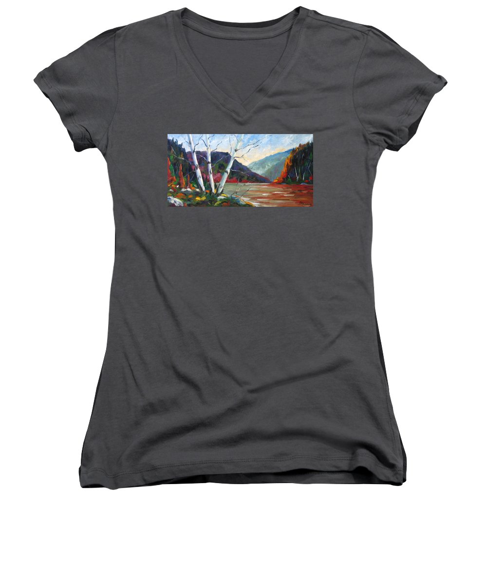 Landscape; Landscapes/scenic; Birches;sun;lake;pranke Women's V-Neck (Athletic Fit) featuring the painting Sunset On The Lake by Richard T Pranke