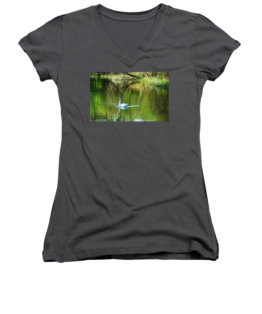 Irish Women's V-Neck T-Shirt featuring the photograph Swan On The Cong River Cong Ireland by Teresa Mucha