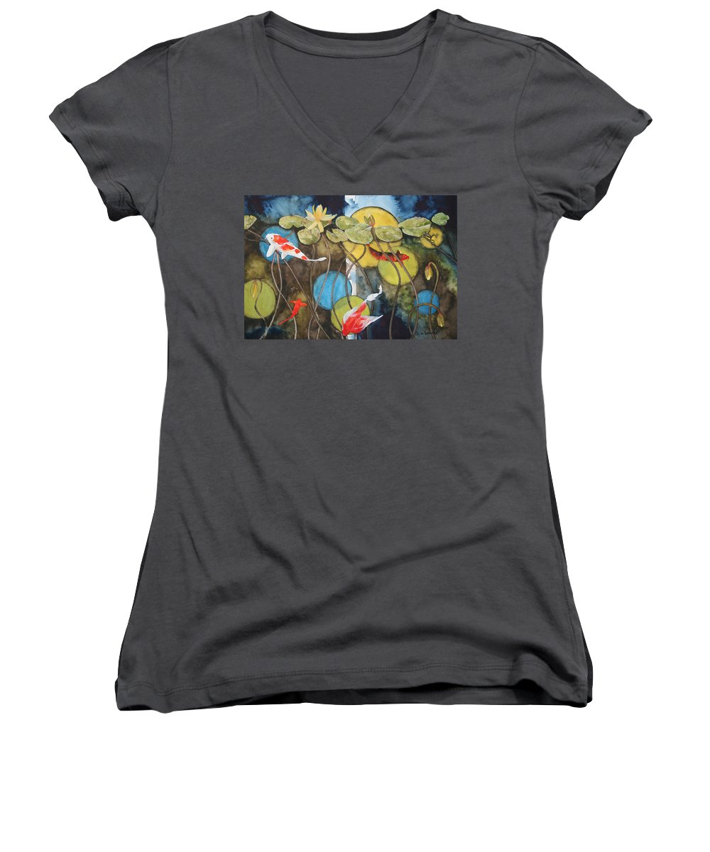 Abstract Women's V-Neck (Athletic Fit) featuring the painting Swimming In Circles by Jean Blackmer