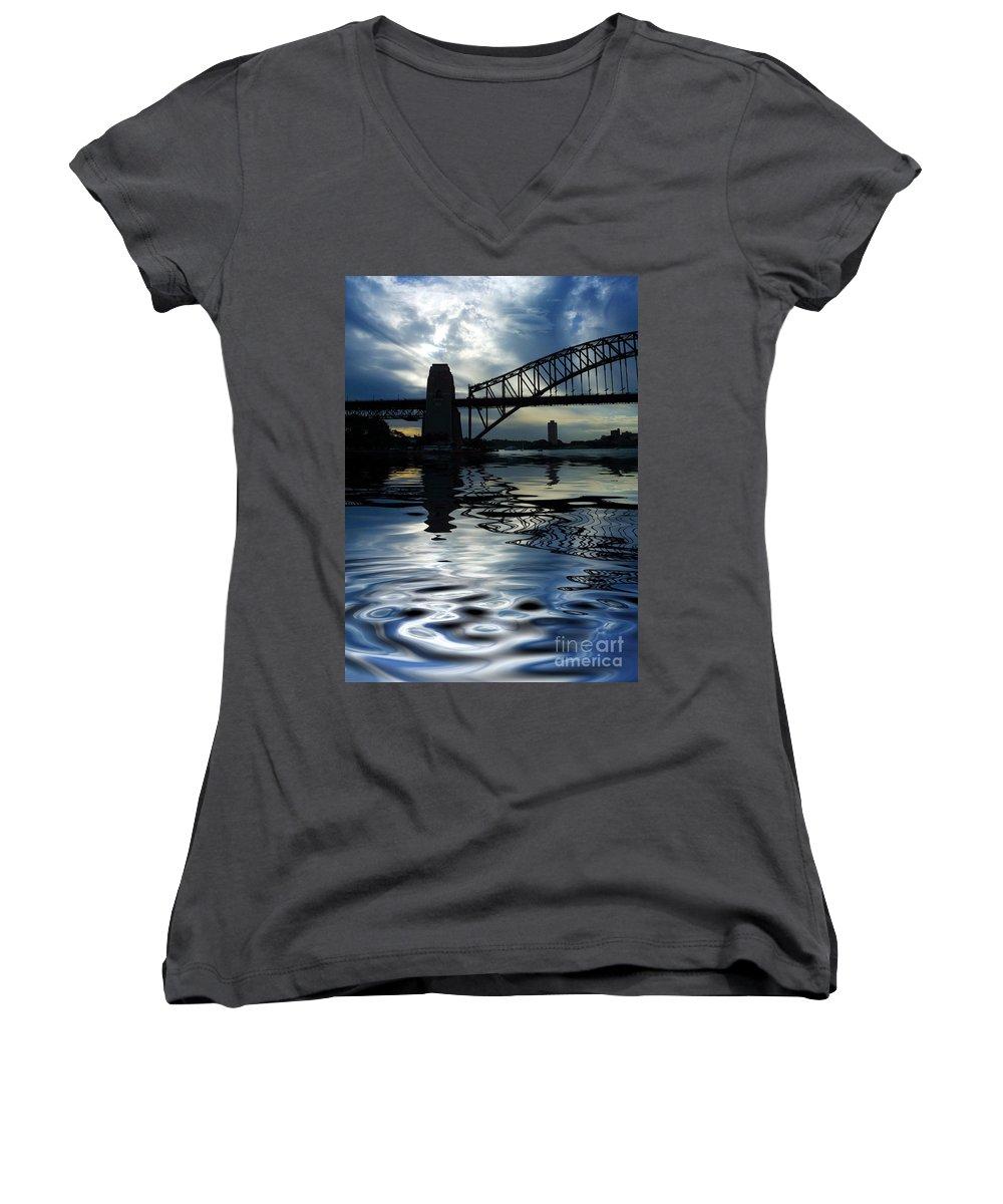 Sydney Harbour Australia Bridge Reflection Women's V-Neck (Athletic Fit) featuring the photograph Sydney Harbour Bridge Reflection by Sheila Smart Fine Art Photography