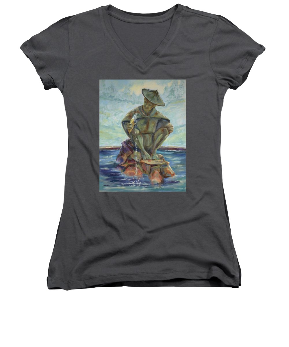 Landscape Women's V-Neck (Athletic Fit) featuring the painting Taipei Fountain by Ginger Concepcion