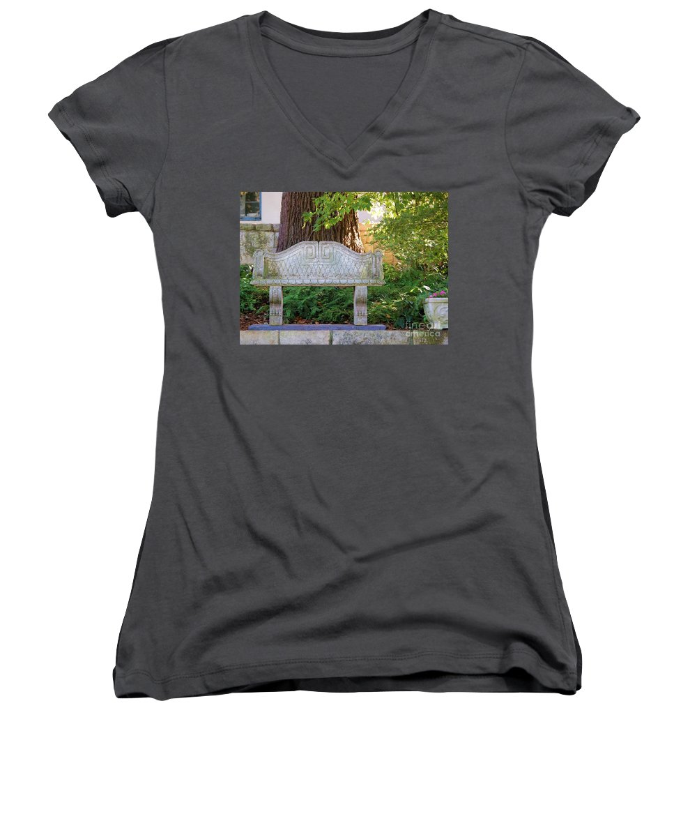 Bench Women's V-Neck T-Shirt featuring the photograph Take A Break by Debbi Granruth