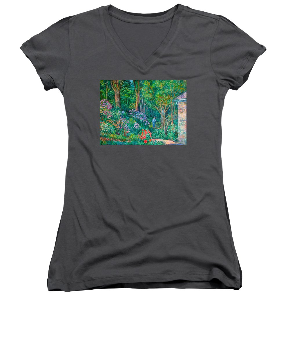 Suburban Paintings Women's V-Neck T-Shirt featuring the painting Taking A Break by Kendall Kessler