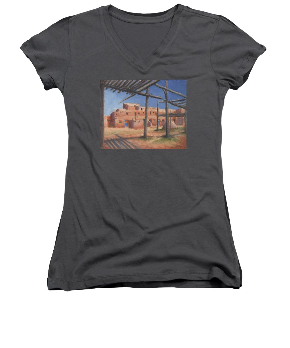 Taos Women's V-Neck T-Shirt featuring the painting Taos Pueblo by Jerry McElroy