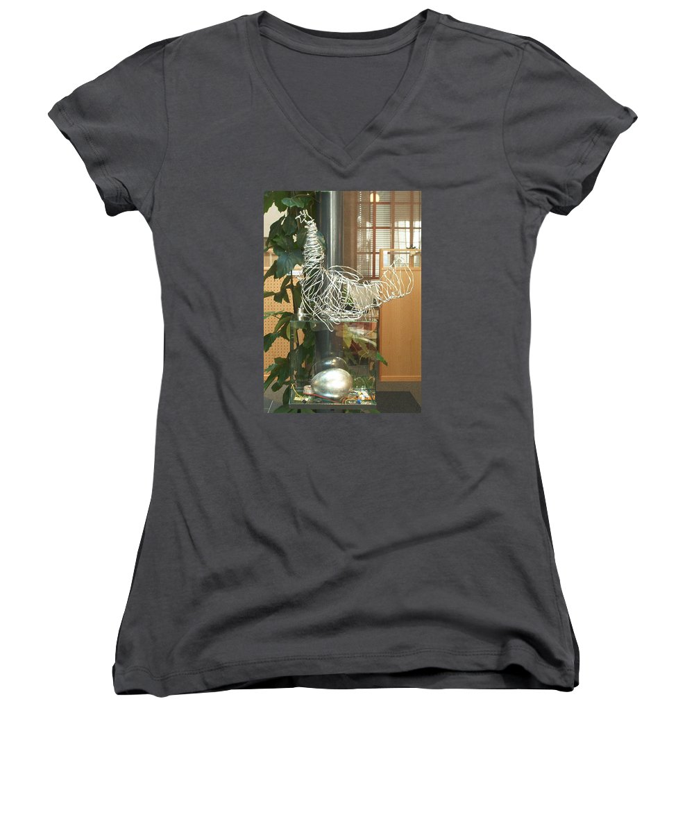 Women's V-Neck T-Shirt featuring the sculpture Techno Hen by Jarle Rosseland
