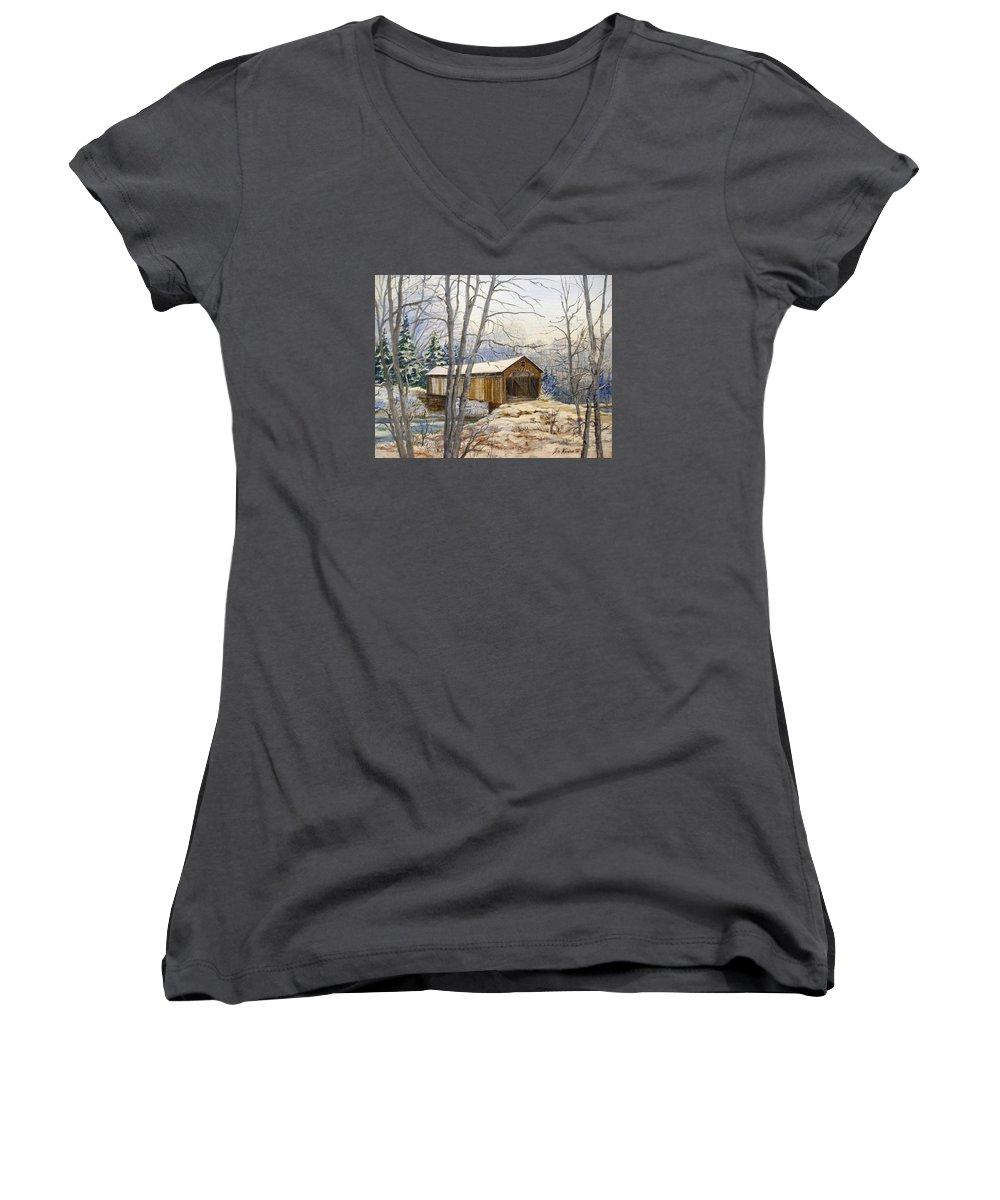 Oil Painting;bridge;covered Bridge;winter Scene;snow;landscape;winter Landscape; Women's V-Neck T-Shirt featuring the painting Teegarden Covered Bridge In Winter by Lois Mountz